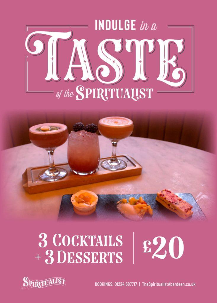 Taste of the Spiritualist Dessert and Cocktail Pairing Menu