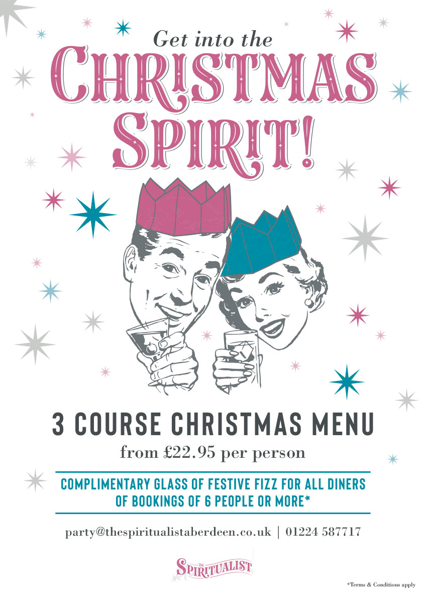 The Spiritualist Aberdeen Christmas Menu and Festive Nights Book Here
